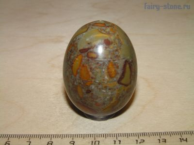 Яйцо из камня яшма бамбуковая (роговик пятнистый) (47мм)